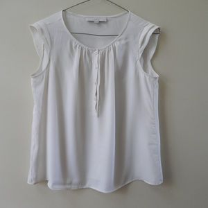 Loft Off White Sheer Button Up Sleeveless Blouse